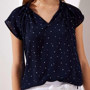 Blue Starry Sky Ruffle Tie Neck